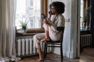 woman girl sitting morning
