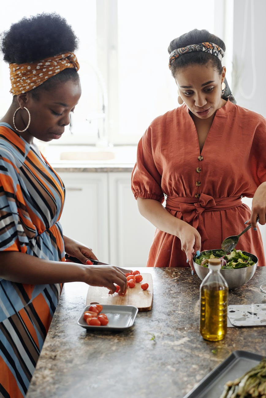 women making a salad
